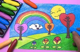 صورة رسم منظر طبيعي سهل للاطفال , اسهل طرق رسم مناظر طبيعيه