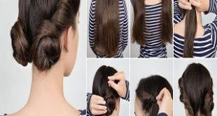 صور تسريحات شعر للمدرسة سهلة وسريعة بالخطوات , اسهل تسريحات الشعر المناسبه للمدرسه