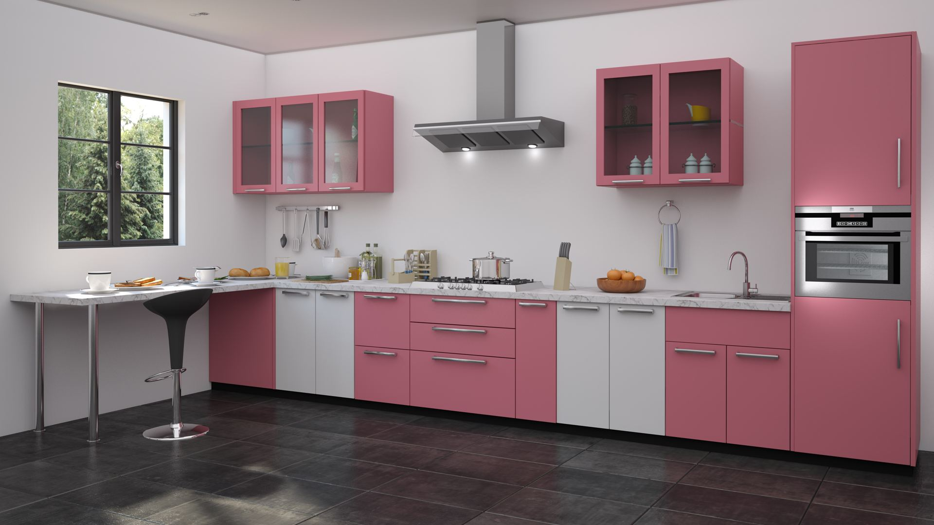 Rose Colored Kitchen