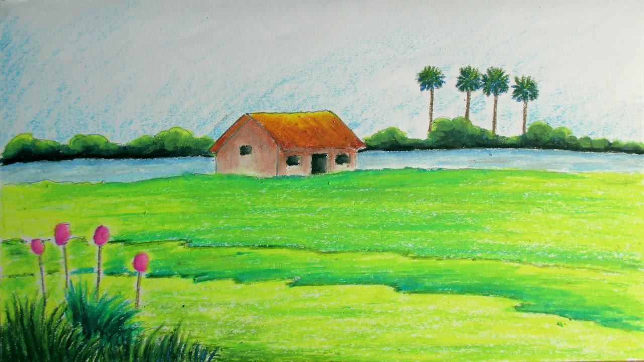 صور رسم منظر طبيعي باليد , اجمل اللوحات المرسومه عن الطبيعه