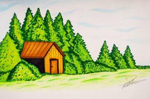 صورة رسم منظر طبيعي باليد , اجمل اللوحات المرسومه عن الطبيعه