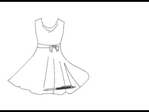 صور طريقة رسم فستان , تعلم رسم الازياء