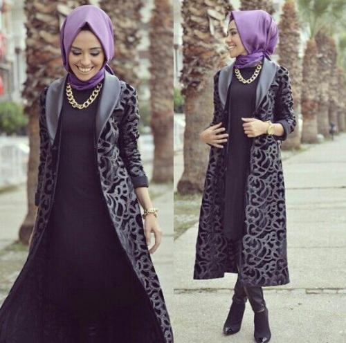 صور ملابس شتوية للمحجبات تركية , ثياب فصل الشتاء مناسبه للحجاب من تركيا